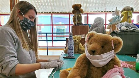 Coronavirus: Vermont Teddy Bear makes masks for medical