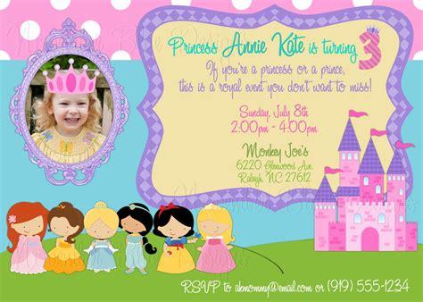 disney princess princesses custom birthday invitation girl