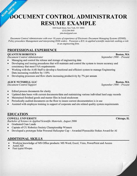 document administrator resume exle