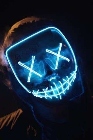 blue led mask  mobile wallpaper