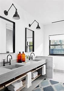 meuble sous lavabo salle de bain dote detageres ouvertes With salle de bain design avec etagere sous lavabo salle bain