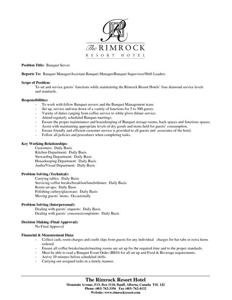 Banquet Server Description Resume by Server Description Resume Resume Badak
