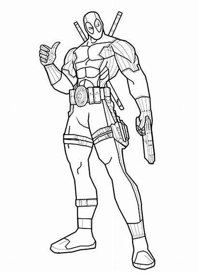 Deadpool Coloring Coloriage Colorear Drawing Printable Marvel