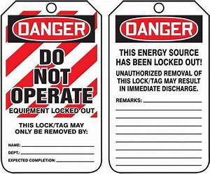 Lockout Tagout Tag Danger Do Not Operate 5 75x3 Laminate 25 Pk From Davis Instruments