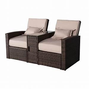 Lounge Sofa Outdoor : outsunny 3 piece outdoor rattan wicker chaise lounge furniture set outdoor chairs ~ Frokenaadalensverden.com Haus und Dekorationen