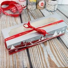 christmas design mince pie boxes red silver