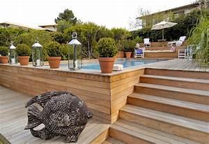piscine semi enterree conseils prix installation With superb terrasse piscine semi enterree 1 les piscines en bois en photo