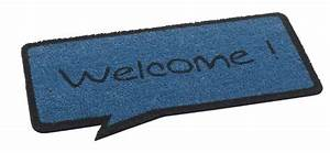 Cartoon Welcome Speech Bubble Door Mat Blue and Black