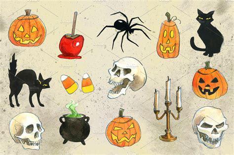 halloween watercolor illustrations illustrations