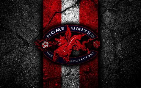 Download wallpapers 4k, Home United FC, emblem, Singapore ...