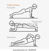 Plank Body Workout Perfect Woman Exercise Making Template Pages Sketch Shutterstock Vector Coloring sketch template