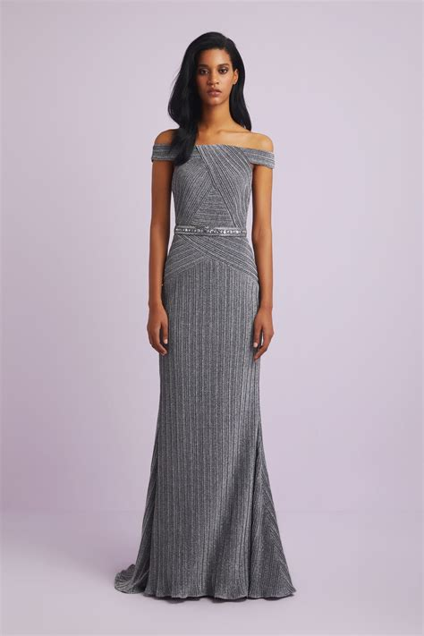 metallic   shoulder fitted formal dress xlvchx