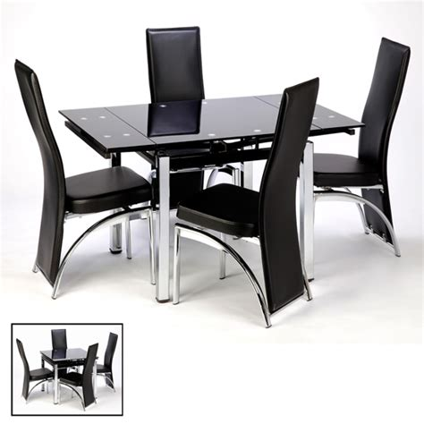 paris extending black dining table and chairs 4 seater