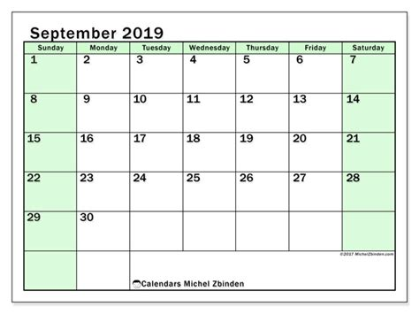 september calendar ss michel zbinden en