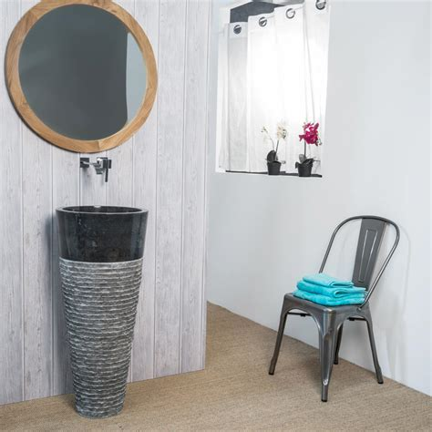 vasque sur pied en marbre florence conique h 90 cm