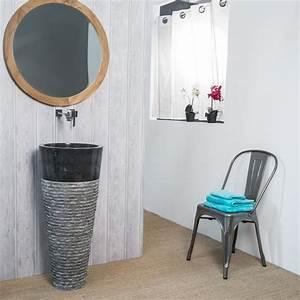 Meuble Vasque Sur Pied : vasque sur pied en marbre florence conique noire h 90 cm ~ Teatrodelosmanantiales.com Idées de Décoration