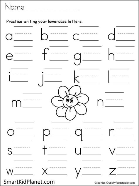 print practice lowercase letters spring flower smart