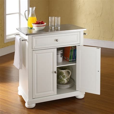 white portable kitchen island alexandria stainless steel top portable kitchen island 1453