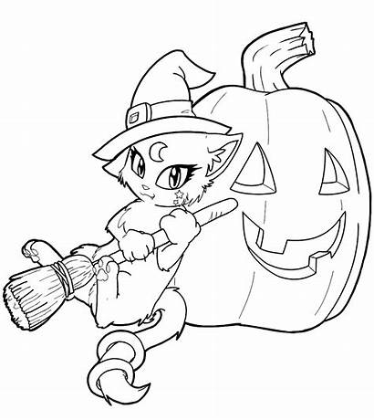 Witch Coloring Halloween Pages Printables Cat Dressed
