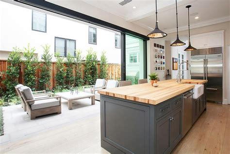 kitchen with sliding glass patio doors transitional
