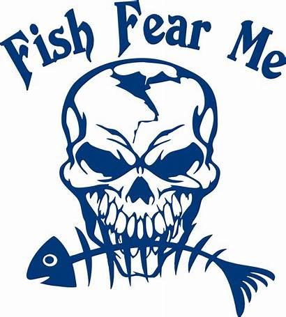 Fish Fear Fishing Vinyl Decal Boat Skull