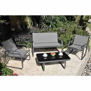 palmeri salon de jardin 1 canape 2 fauteuils et table With tapis exterieur avec canapé 7 places pas cher