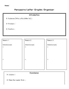 persuasive letter graphic organizer   newell world