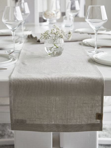 Long Linen Table Runner  Light Grey