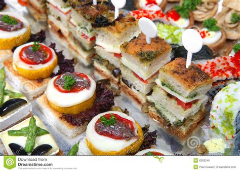 canapé toast tray of assorted canapes stock photo image of salmon