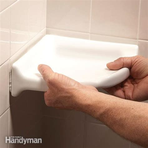 how to install ceramic wall tile in kitchen how to install a corner shower shelf the family handyman 9762