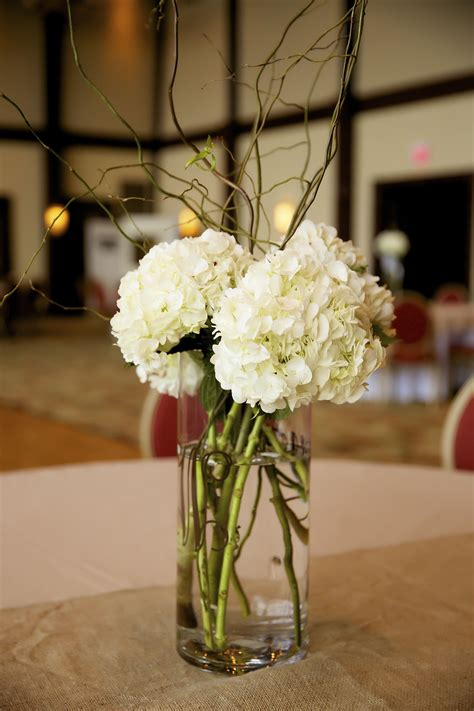 hydrangeas curly willow simple wedding centerpieces