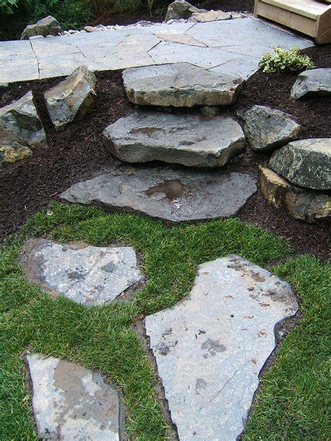 stepping stones slabs portland rock  landscape