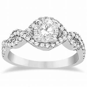 Diamond infinity halo engagement ring band set 14k white for Infinity design wedding ring