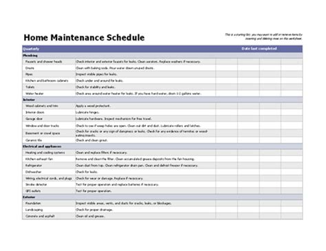 maintenance schedules templates home maintenance schedule