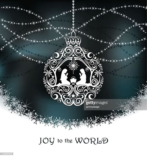 elegant christmas nativity ornament vector art getty images