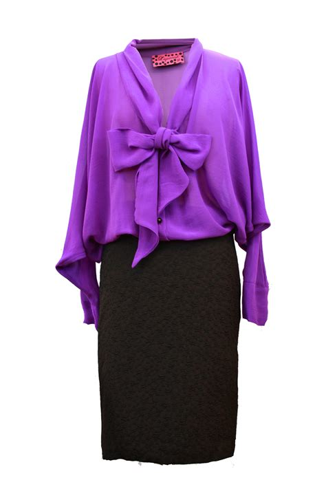 purple blouse womens womens purple liquroish bow blouse top pencil skirt