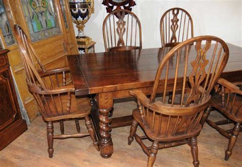 farmhouse refectory table set arm chairs kitchen