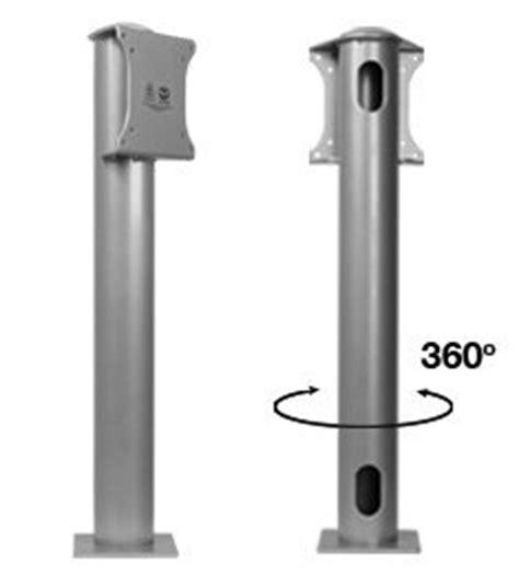 b tech bt7304 single pole flat screen desk mount with vesa 75 and 100 interfaces silver