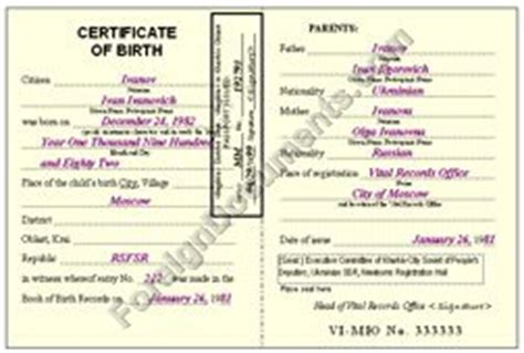ussr birth certificate certified translation