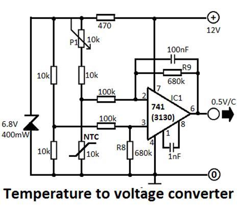 Temperature Voltage Converter Circuit