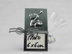 Petit Cadre Deco : petit cadre argente deco ours relief avec dragees garcon ~ Teatrodelosmanantiales.com Idées de Décoration