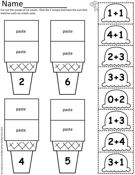 math scoops cut and paste addition up to 20 early