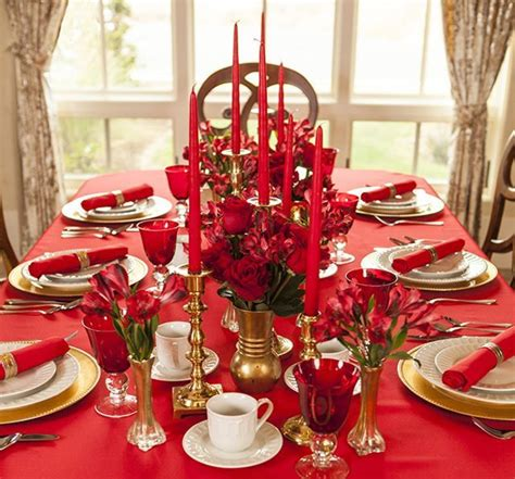 deco table noel table de fete en rouge