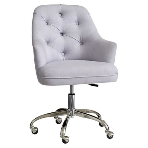 girls white desk and chair twill tufted desk chair pbteen