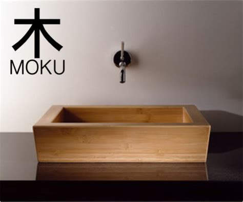 Moku Rectangle bamboo basin   Asian   Bathroom Sinks