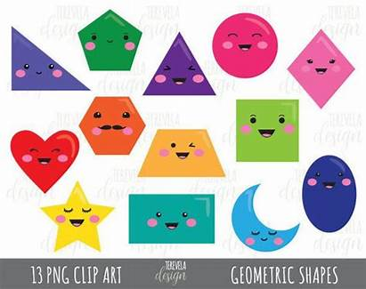 Shapes Geometric Clipart 2d Math Fun Kawaii