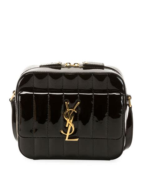 saint laurent vicky medium ysl monogram quilted patent
