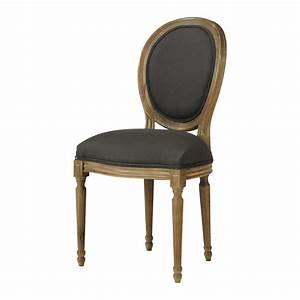 Chaise Chene Massif : chaise m daillon en lin et ch ne massif noire louis maisons du monde ~ Teatrodelosmanantiales.com Idées de Décoration
