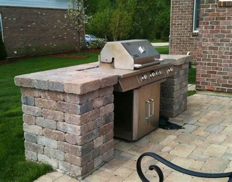 Belgard Patio With Built-in Grill Surround By Hawthorn
