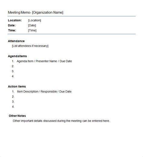 Staff Meeting Memo Template by Meeting Memo Template 8 Free Word Pdf Documents
